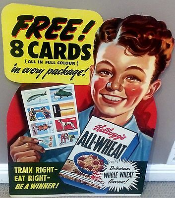 1946 Kelloggs All-Wheat cereal giant store display sign HOCKEY Boxing cards