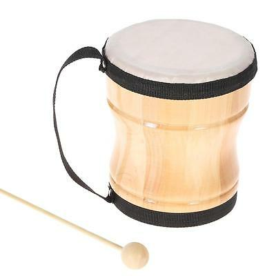Wood Hand Bongo Drum Musical Toy with Stick Strap for Kids Children L3N2