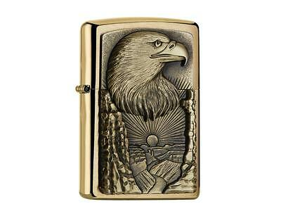 """ZIPPO """"EAGLE GRAND CANYON"""" BRUSHED BRASS EMBLEM LIGHTER ** NEW in BOX **"""
