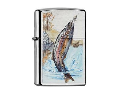 "ZIPPO ""FISHING"" BRUSHED CHROME COLOR LIGHTER ** NEW in BOX **"