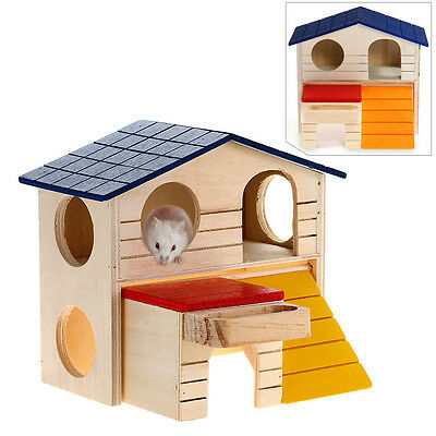 Wooden Bed House Cage Habitat 2-layer Villa for Hamster Squirrel Mouse