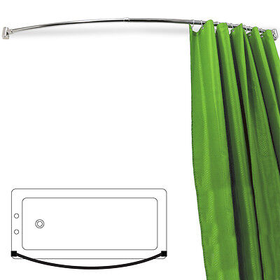 ARC - Curved Extendable 110cm - 196cm Chrome Shower Curtain Rail - Silver BABR12