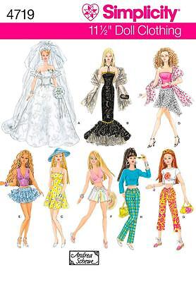 "Simplicity SEWING PATTERN 4719 Clothes For 11.5"" Fashion Doll, Inc Wedding Dress"