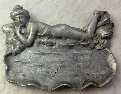 Art Nouveau Dresser Pin or Card Tray with Female Draped Body