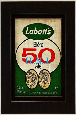 VINTAGE 13x19 CLASSIC LABATT 50 RP SIGN ADVERTISEMENT AD * FRAMED