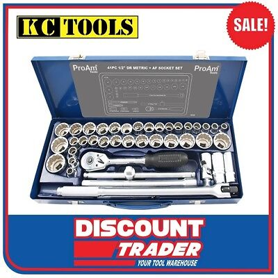 """ProAm by KC Tools 41 Piece 1/2"""" Drive Socket Set Metric / Imperial - 10120"""