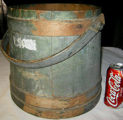 ANTIQUE PRIMITIVE COUNTRY KITCHEN WOOD FIRKIN w/ OLD GREEN PAINT STORAGE BUCKET