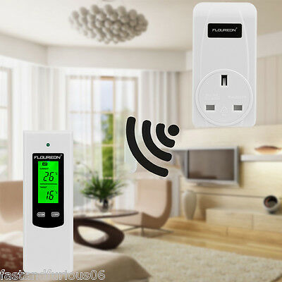 Thermostat Temperature Controller Wireless RF Plug In LCD Remote Control Battery