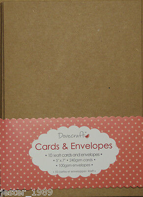 "Dovecraft Kraft 5""x7"" Cards & Envelopes - 10 Cards in Pack"