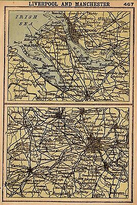 1902 Antique LIVERPOOL Map England Map RARE MINIATURE Map Gallery Wall Art 2770