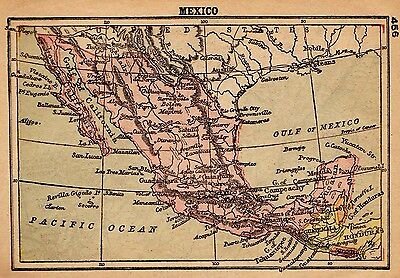 1902 Antique MEXICO Map RARE MINIATURE Map of Mexico Gallery Wall Art 2776