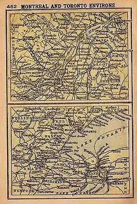 1902 Antique MONTREAL Map TORONTO Map RARE MINIATURE Map Gallery Wall Art 2778