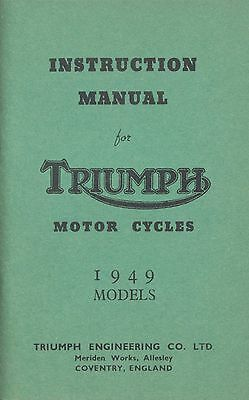 Triumph Motorcycle Manual 3T 5T T100 Rigid Sprung Hub 1949