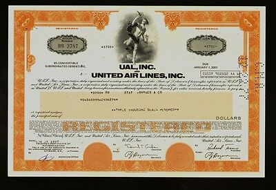 UAL INC and UNITED AIR LINES INC Chicago IL old bond certificate iss to Barnes