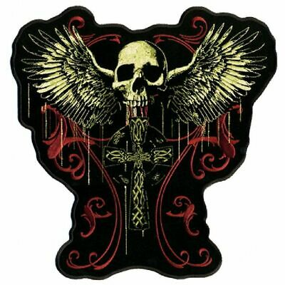 Flying Skull Gothic Cross Biker Jacket Vest Patch  (Huge) 12  Inch