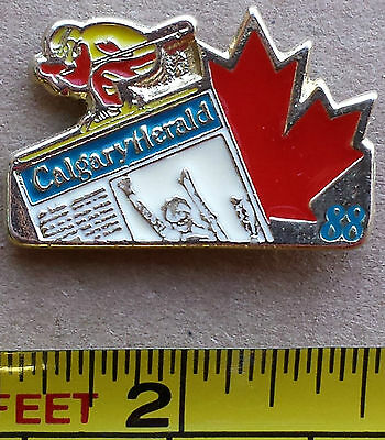 Calgary Herald 88 - Metal Lapel Pin, Red Maple Leaf