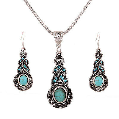 Retro Tibet Silver Blue Turquoise Crystal Pendant Necklace Earrings Jewelry Sets