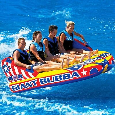 WOW Giant Bubba 1 - 4 Riders Towable Ski Tube Inflatable Biscuit Boat Ride