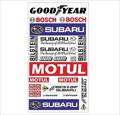 Subaru Logo Autoaufkleber Sponsoren Marken Aufkleber Decals Tuning Sticker Set