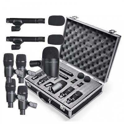 7 Piece Drum Microphone Kit inc Case - 4 Tom / Snare, 2 Overhead & Kick Drum Mic