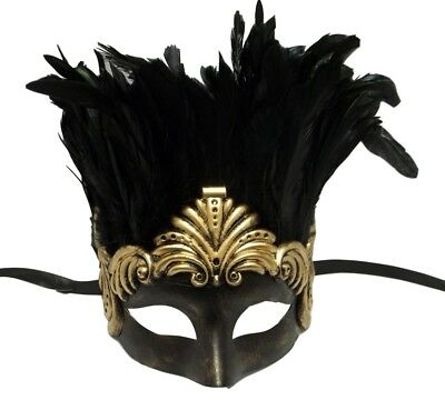 Gold Ancient Roman Warrior Feather Masquerade Mardi Gras Men's Mask