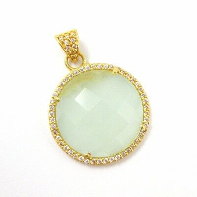 Gold plated Silver Round Bezel Aqua Chalcedony Gem Pave Cubic Zirconia Pendant