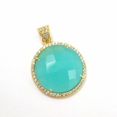 Gold plated Silver Round Bezel Peru Chalcedony Gem Pave Cubic Zirconia Pendant