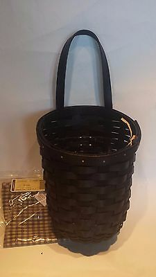Longaberger Black Stain Foyer Basket with Protector & Khaki Check Liner - MINT!