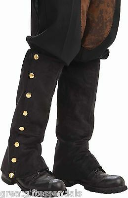 STEAMPUNK BLACK SPATS FAUX SUEDE Costume Accessory Boot Shoe Covers Victorian