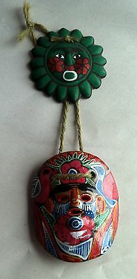2 Small Mexican Painted Folk Art Terra Cotta Red Clay Face Masks Wall Hanging
