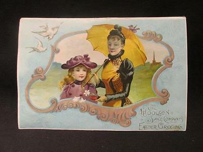 Easter Greeting Victorian Trade Card Woolson Spice Company Makers of Lion Coffee
