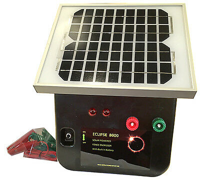 8km SOLAR Power Electric Fence ENERGISER Charger Thunderbird Eclipse 8000 Farm