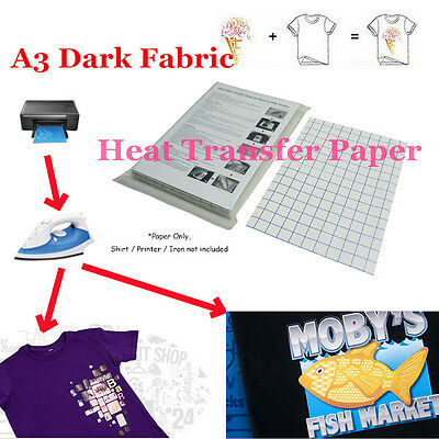 T-Shirt Inkjet Iron-On Heat Transfer Paper For Dark Fabric Cloth, A3 16.5x11.7in
