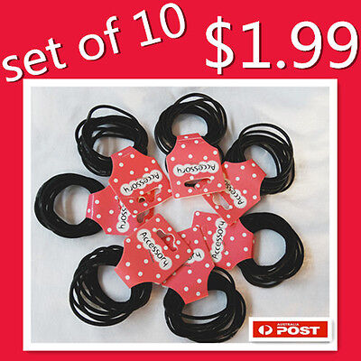 10  Pcs Kids Girls Elastic Hair Tie/Hair Band For Ponytail In Black