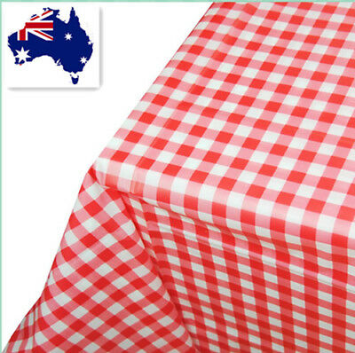 2 x Red Gingham Plastic Tablecloth for Party Birthday/Wedding 180x180cm