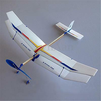 Rubber Band Elastic Powered Flying Glider Plane Airplane Model DIY For Kids Fun