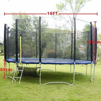 16Ft Trampoline Sets  Safety Net Enclosure Ladder & Shoes Bag & Rain Cover