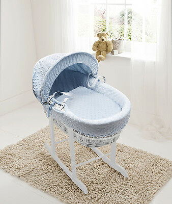 Blue Dimple White Wicker Moses Basket on Deluxe Rocking White Stand