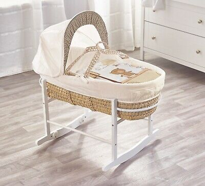 Beary Nice Cream Palm Moses Basket on Deluxe White Rocking Stand