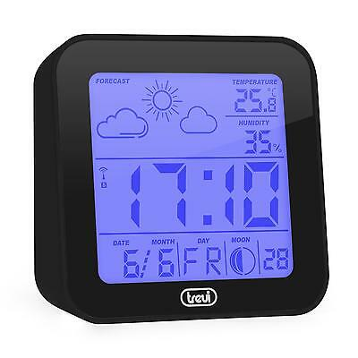 Trevi Me-3105-Bk Weather Station Alarm Clock Thermometer Hygrometer Moon Phases