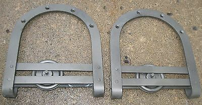 Antique Pair Iron Barn Door Rollers For Exterior/interior Clean