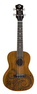 Luna UKE TC MAH Tattoo Concert Acoustic Ukulele Satin With Gig Bag Uketcmah New