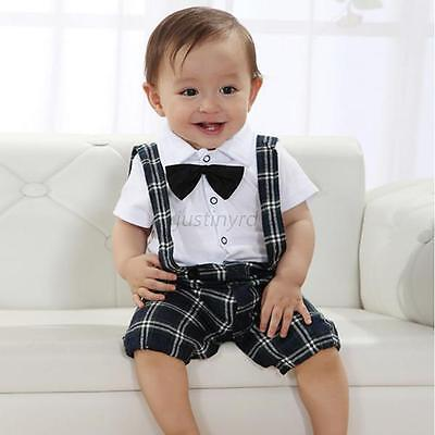 2PC Toddler Baby Boys Wedding T-shirt Top+Bib Pants Overalls Set Outfit Clothing