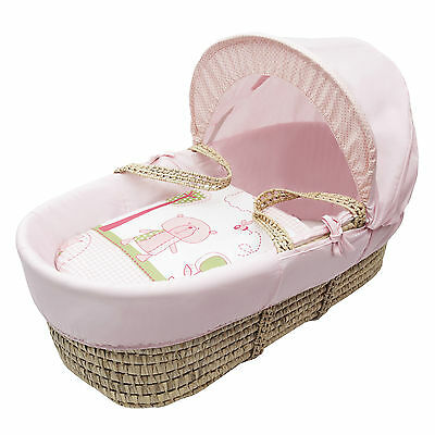 Beary Nice Pink Palm Moses Basket Padded