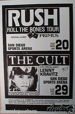 "Rush ""roll The Bones Tour"" & The Cult 1992 San Diego Concert Tour Poster"