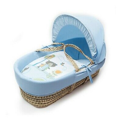 Beary Nice Blue  Moses Basket 4 Piece Dressings (Basket Not Included)