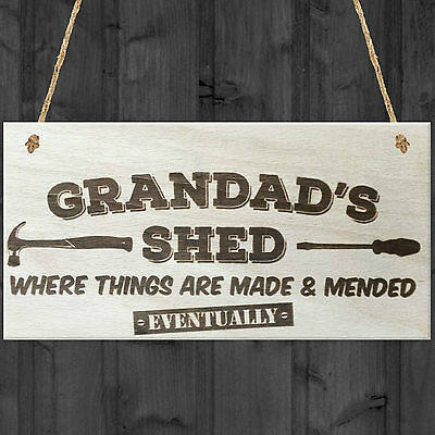 Grandads Shed Wooden Hanging Plaque Novelty Workshop Garage Tool Shed Gift Sign