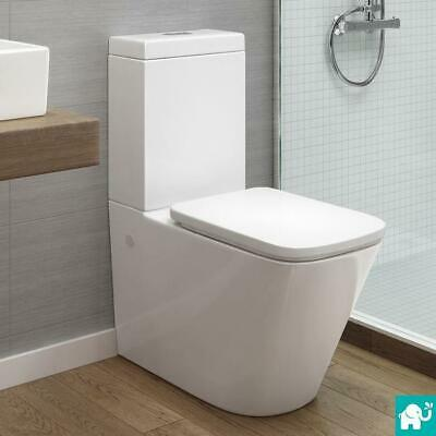 Square White Close Coupled Toilet Pan Cistern WC Modern Bathroom Suite Basin