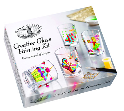House of Crafts Creative Glass Painting Kit Paint Set Of 4 Candle Holders HC600