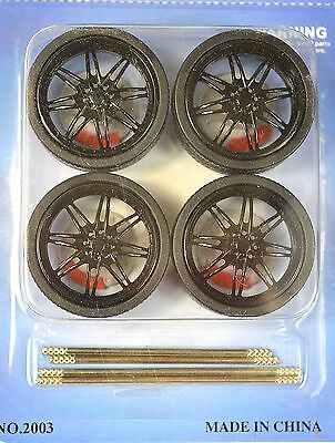 Low Profile Black 4 Wheel Set 1:18 With Brake Discs Lopro 2003Bk 8 Spoke